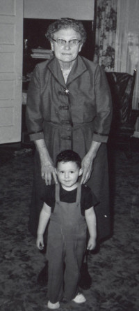 Summer 1955 - Sarah Kaser and her grandson Everett Kaser (age 2 1/2).  This was the last picture taken of her, about two weeks before a devastating series of strokes.