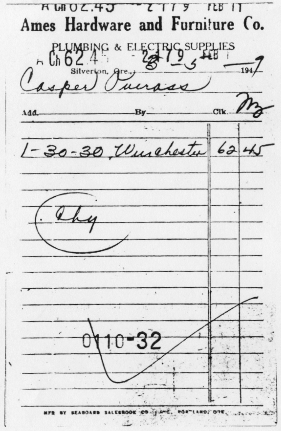 Ames Hardware receipt for Oveross gun purchase